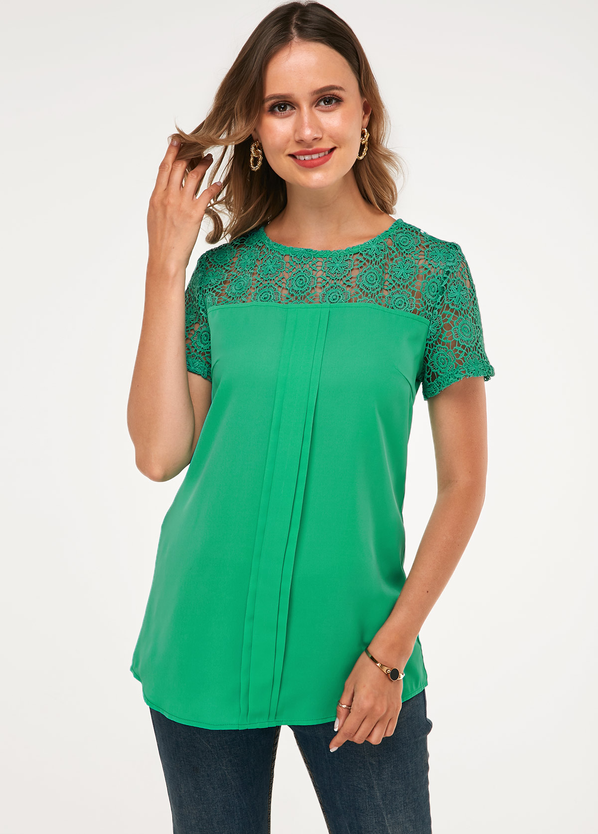 ROTITA Short Sleeve Lace Panel Round Neck Blouse