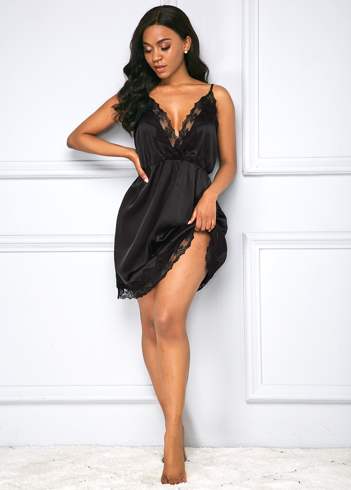 ROTITA Black Deep V Neck Lace Panel Dress
