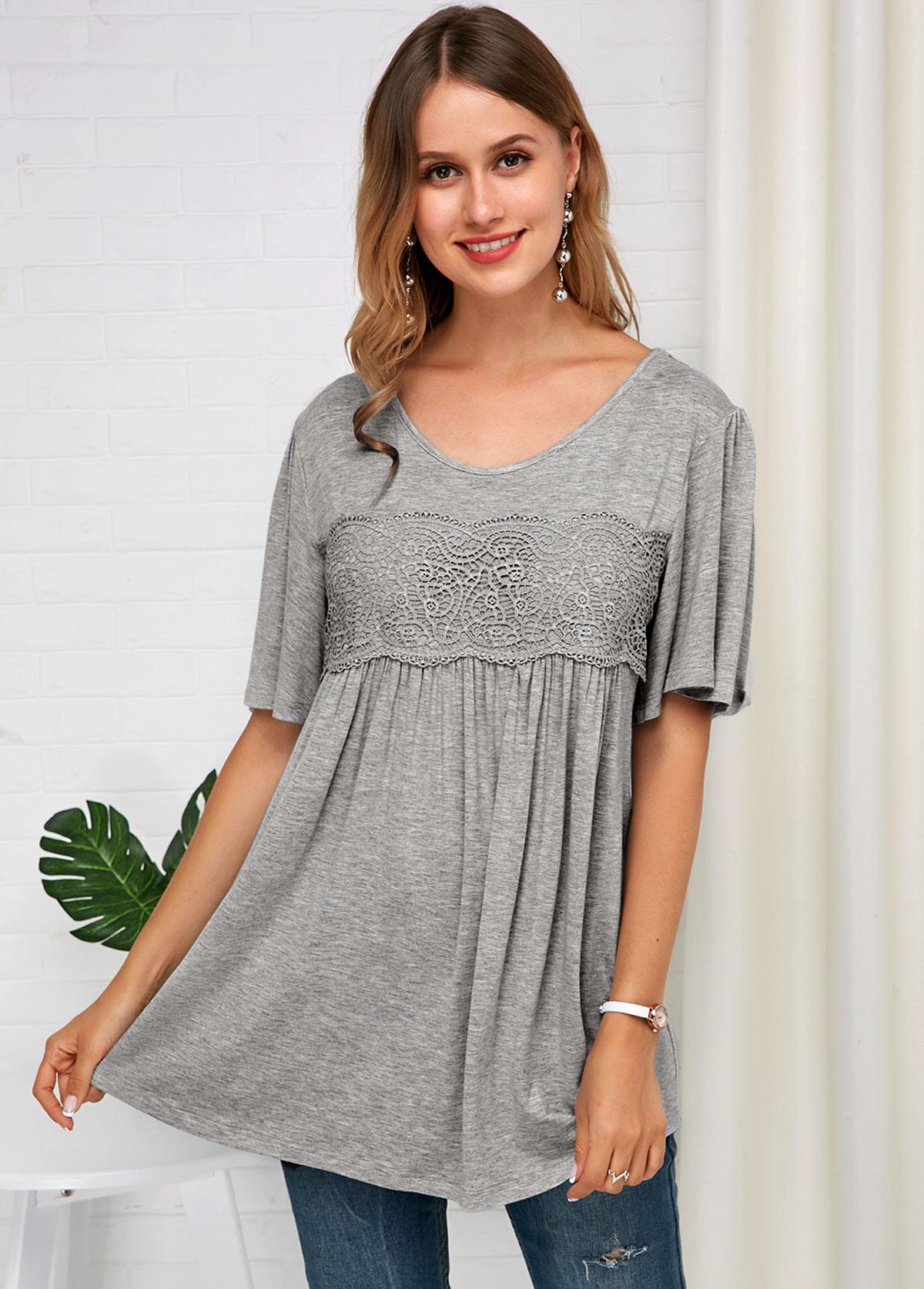 Grey Lace Panel Half Sleeve Soft T Shirt