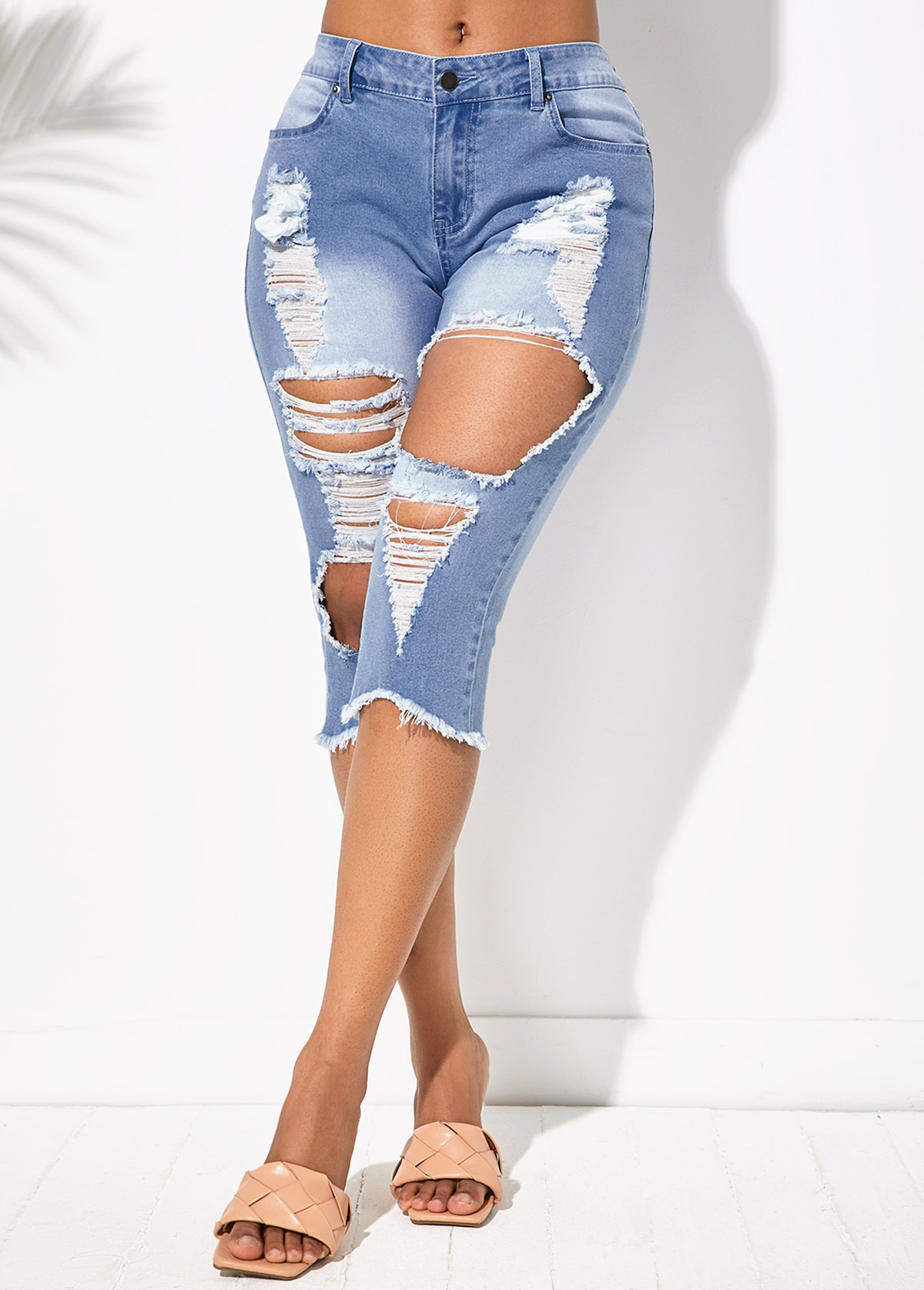 Shredded Acid Washed Pocket Denim Shorts