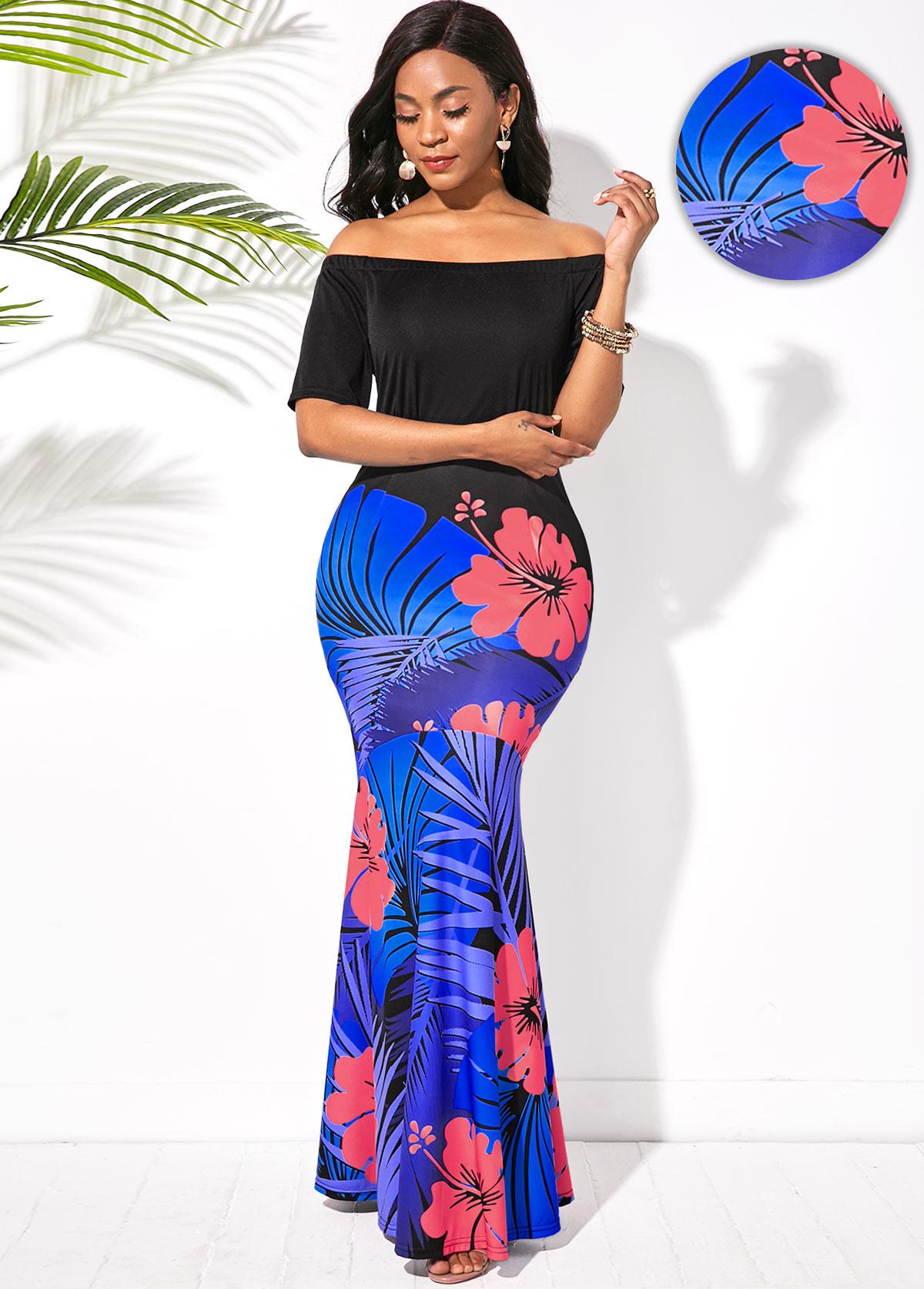 ROTITA Off the Shoulder Floral Print Maxi Dress