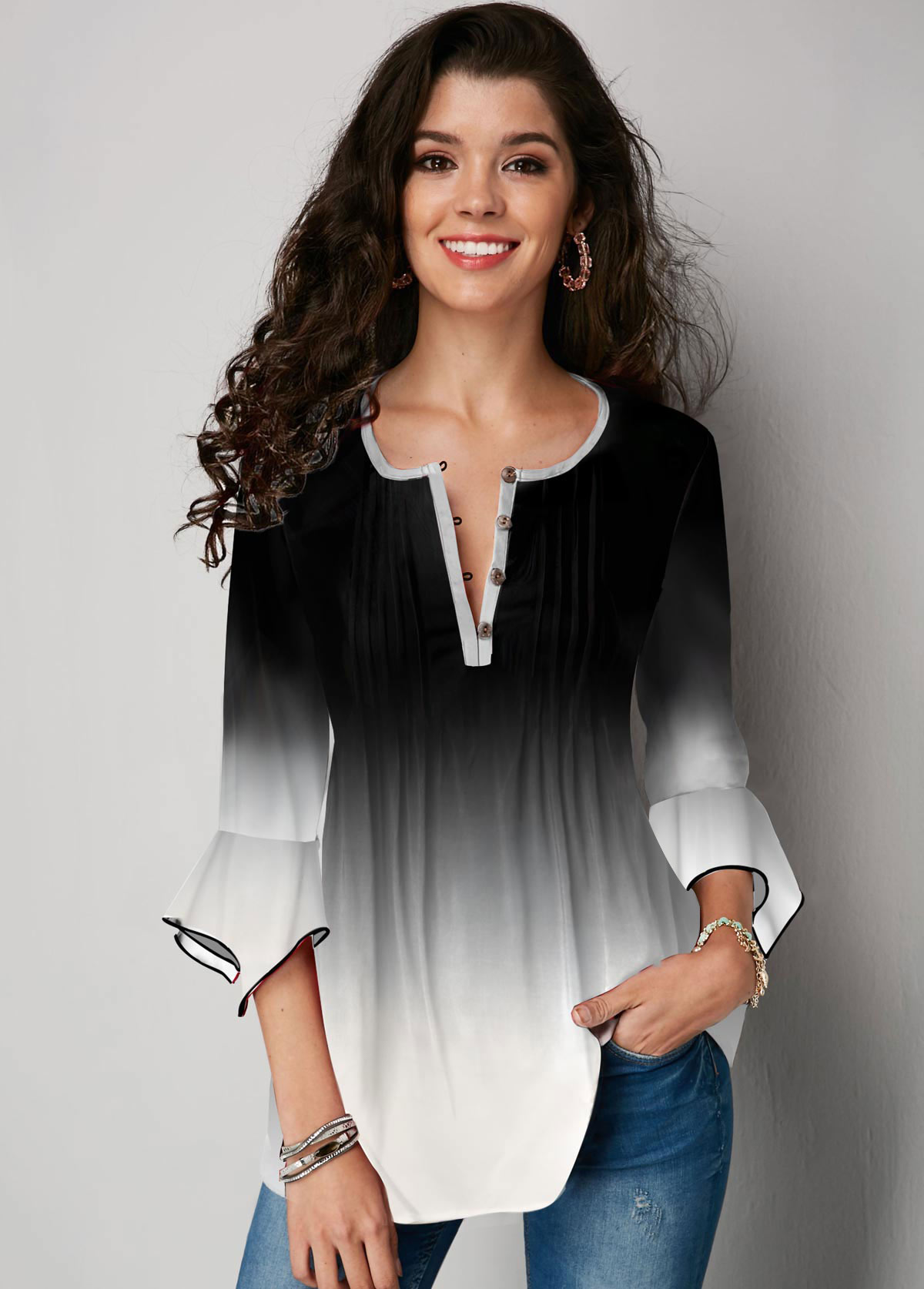 ROTITA Flare Sleeve Gradient Button Up Blouse
