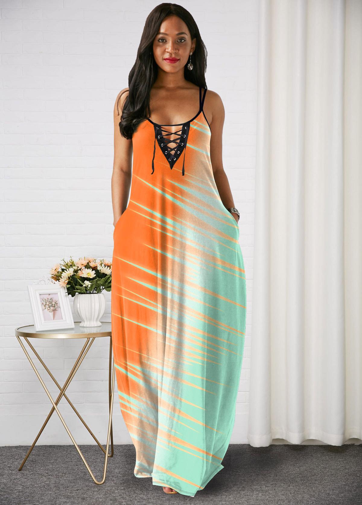 ROTITA Color Block Spaghetti Strap Lace Up Maxi Dress