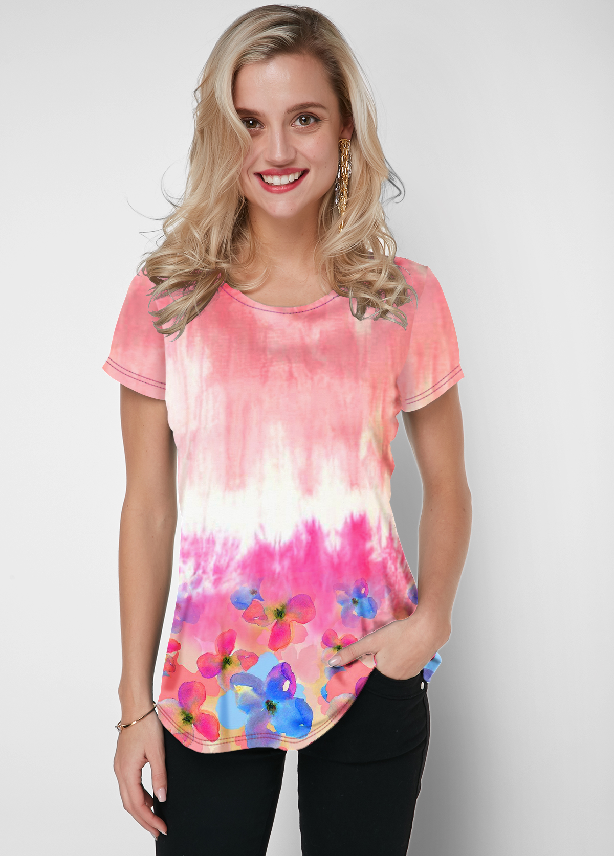 ROTITA Tie Dye Short Sleeve Pink Round Neck T Shirt