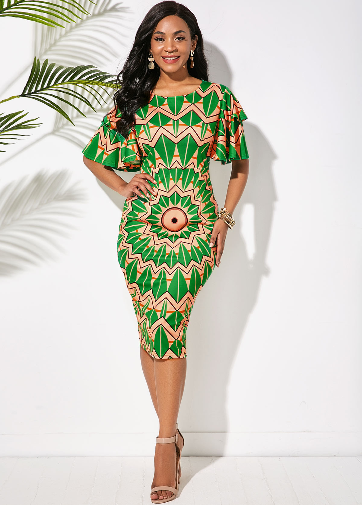 ROTITA Tribal Print Butterfly Sleeve Round Neck Dress