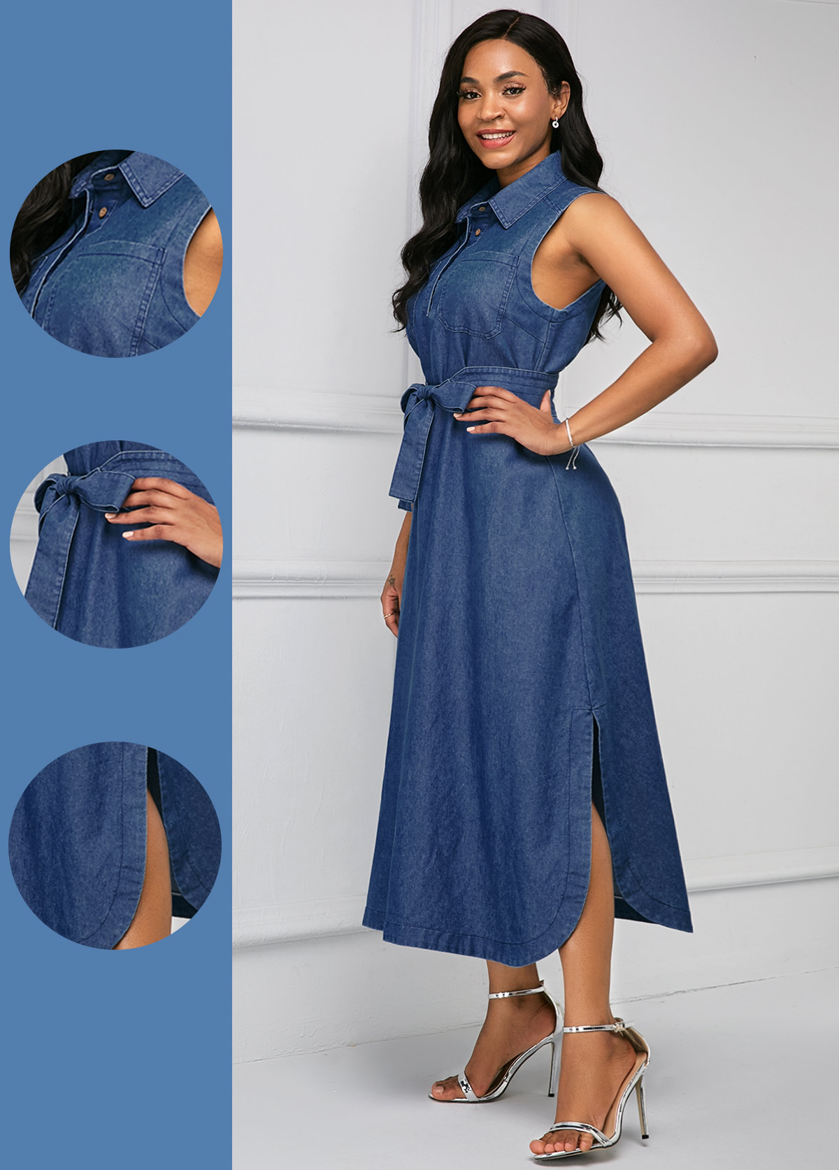 ROTITA Belted Side Slit Turndown Collar Denim Dress