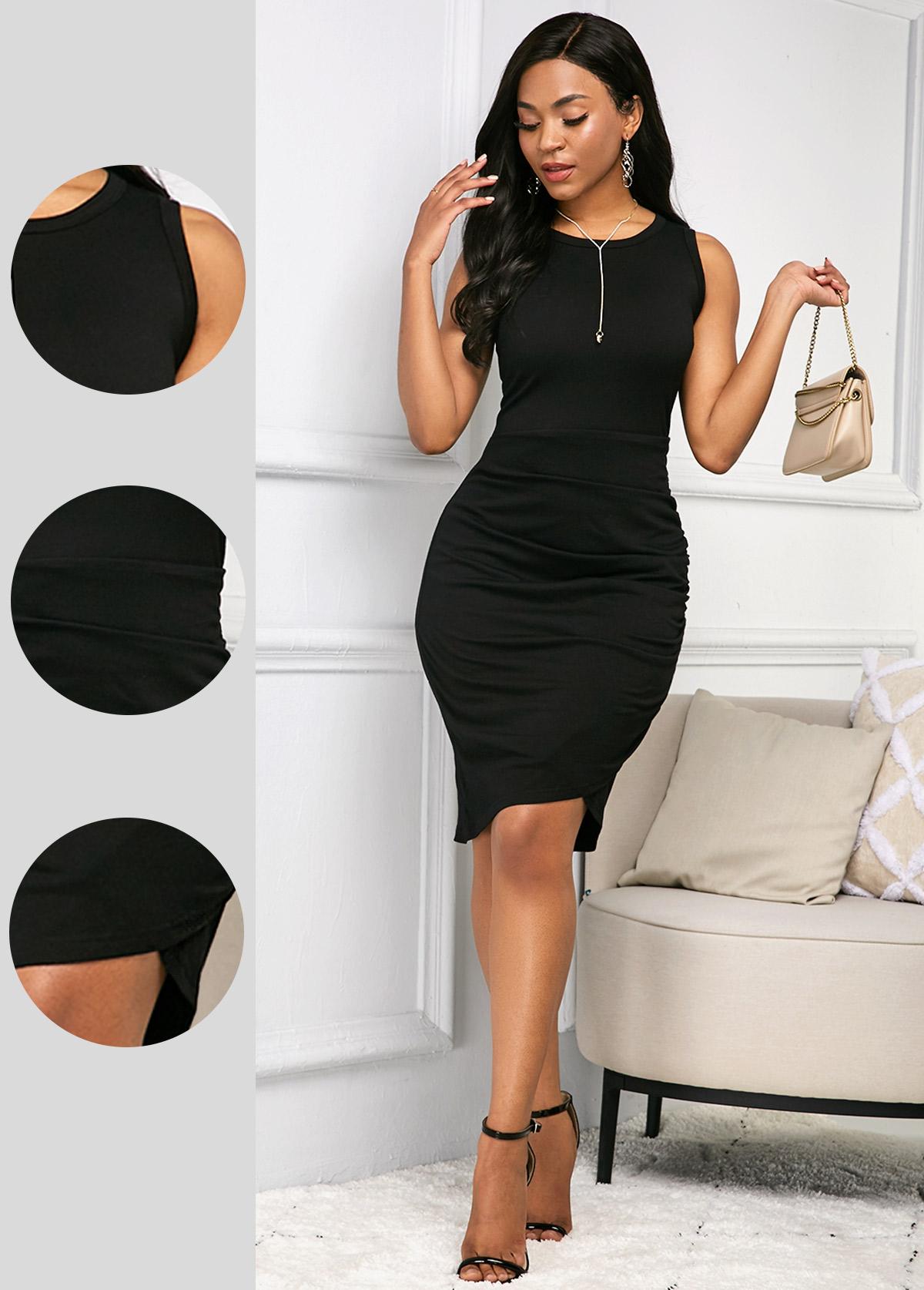 ROTITA Black Sleeveless Round Neck Soft Dress