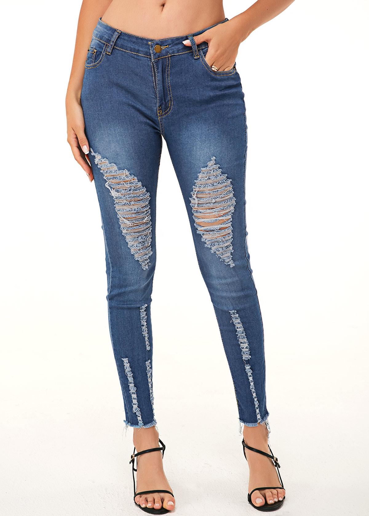 ROTITA Shredded Acid Washed Pocket Skinny Jeans