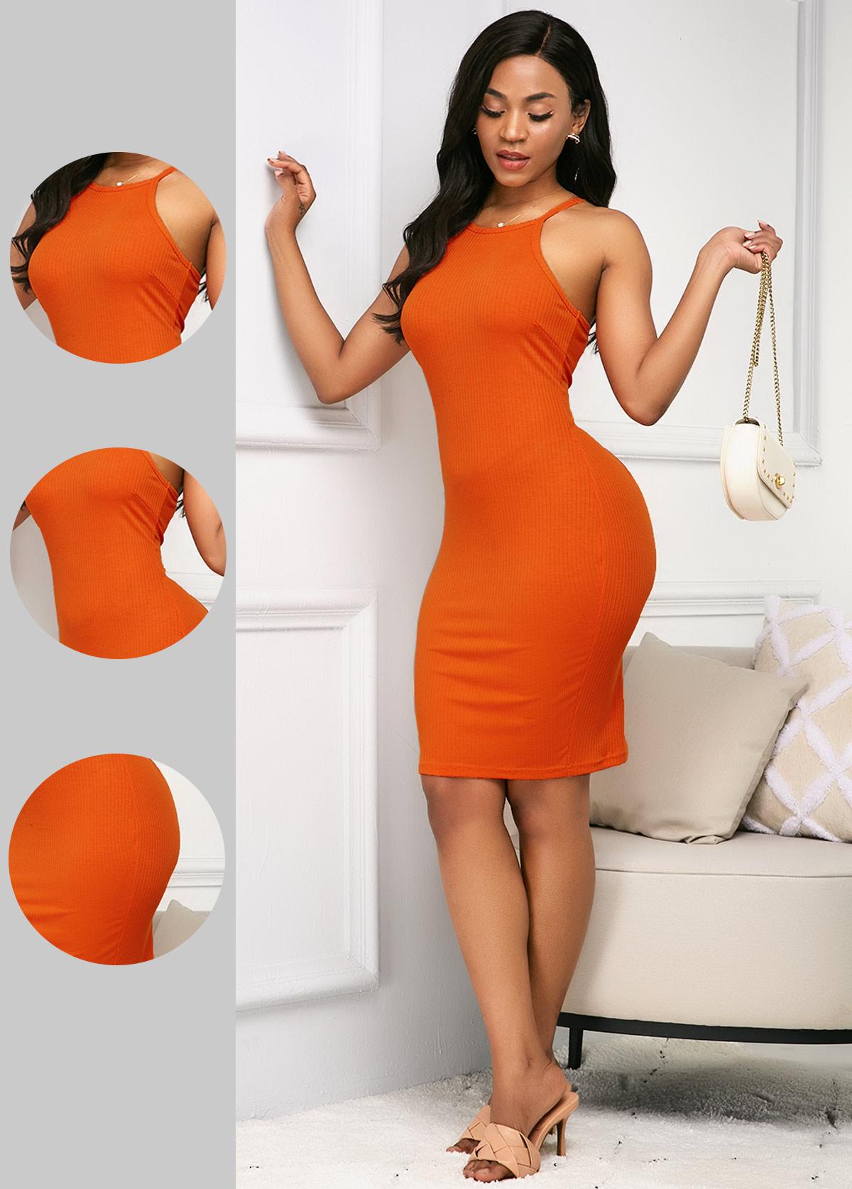 ROTITA Sleeveless Bib Neck Orange Sheath Dress