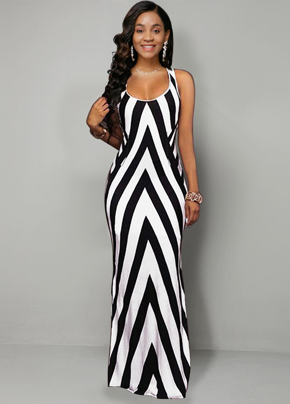 Geometric Print Stripe Side Slit Dress