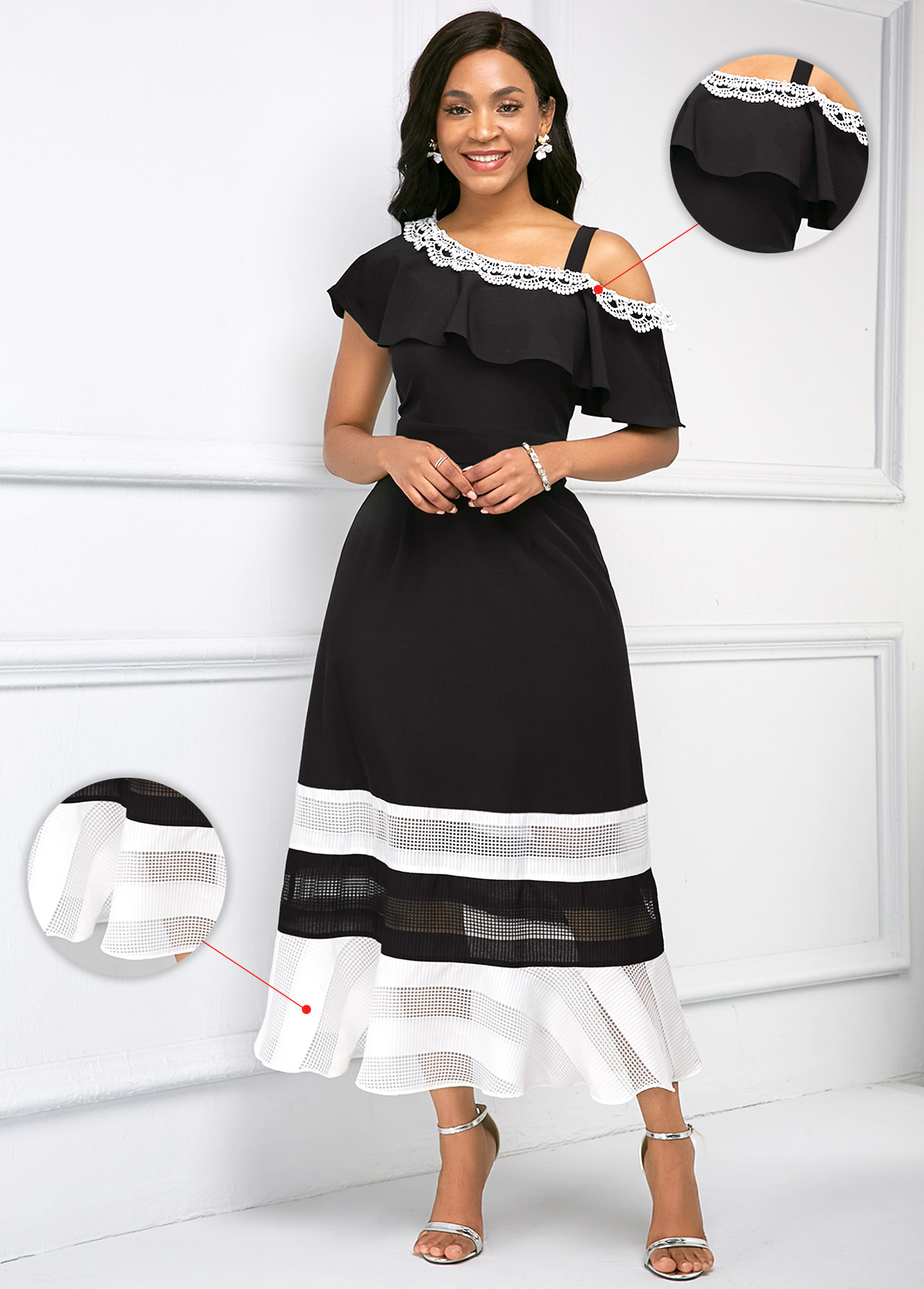 ROTITA Contrast Ruffle Overlay Asymmetric Neckline Dress