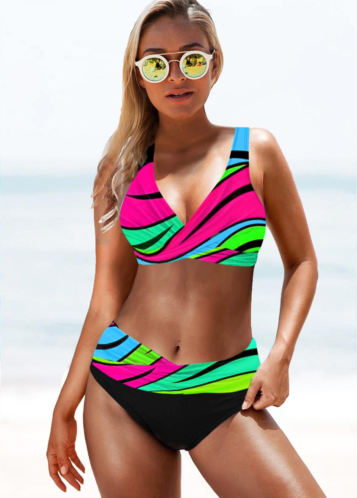 ROTITA Wide Strap Mid Waist Rainbow Color Bikini Set
