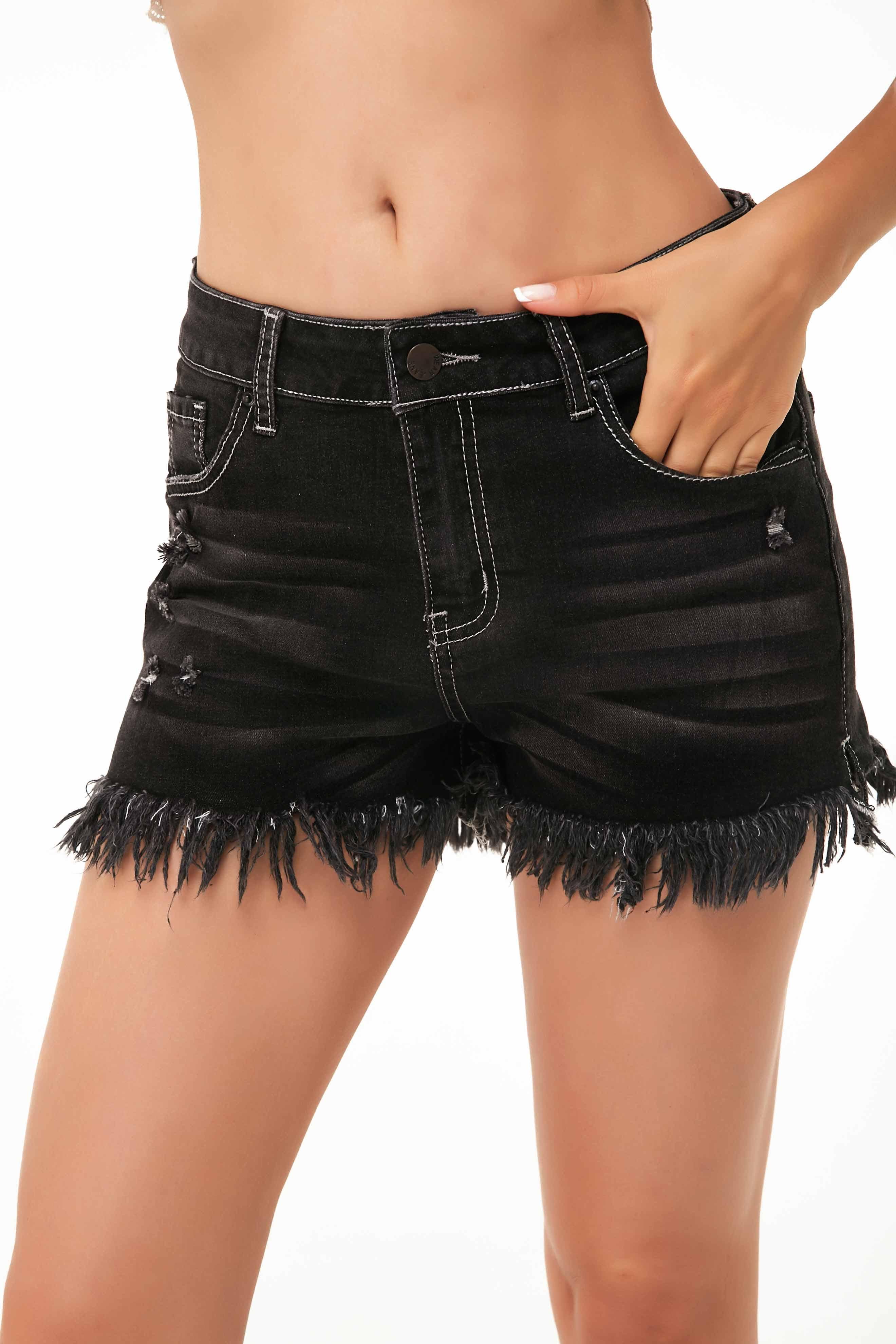 ROTITA Slant Pocket Frayed Hem Denim Shorts