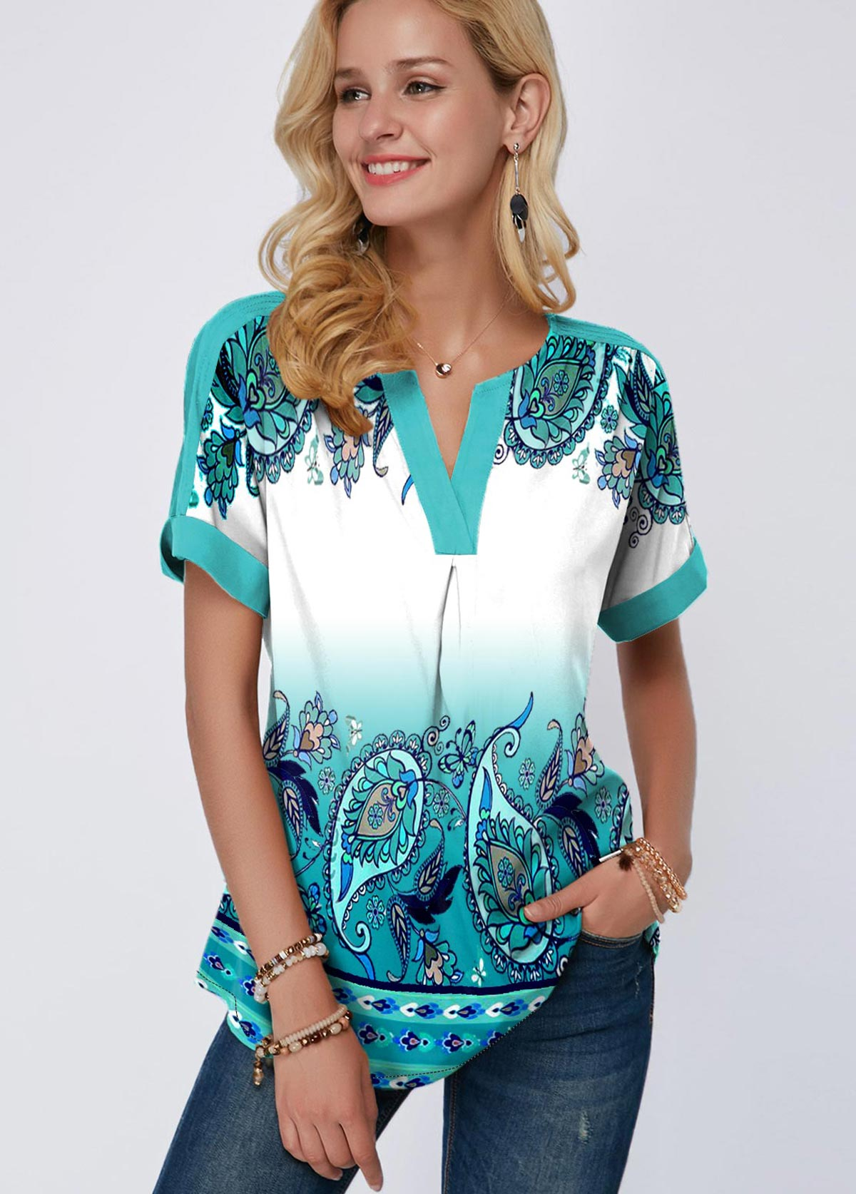 ROTITA Green Tribal Print Short Sleeve Blouse