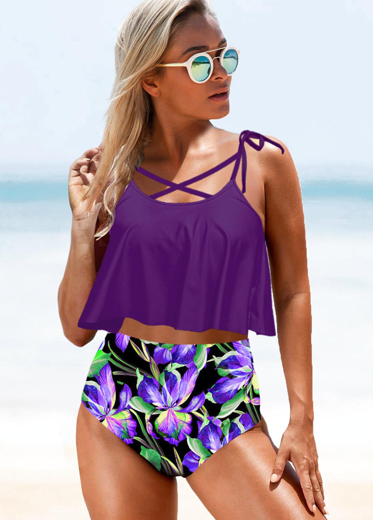 Tie Strap Flower Print Purple High Waist Bikini Set