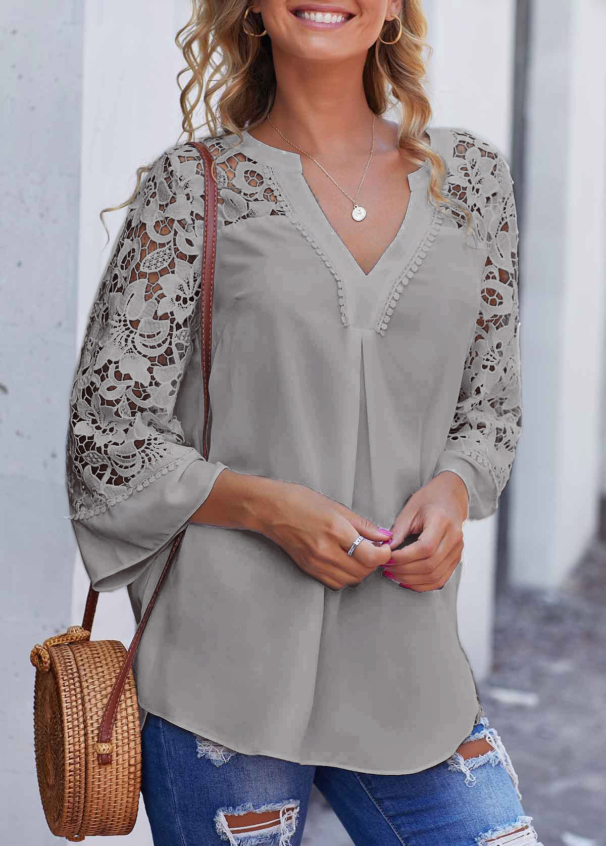 ROTITA Grey Lace Stitching Split Neck Blouse