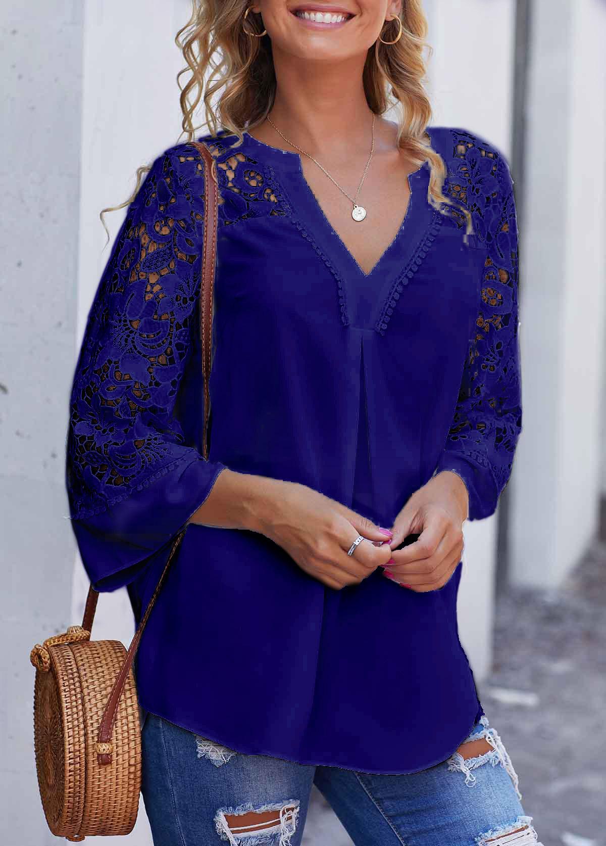 ROTITA Blue Lace Stitching Split Neck Blouse