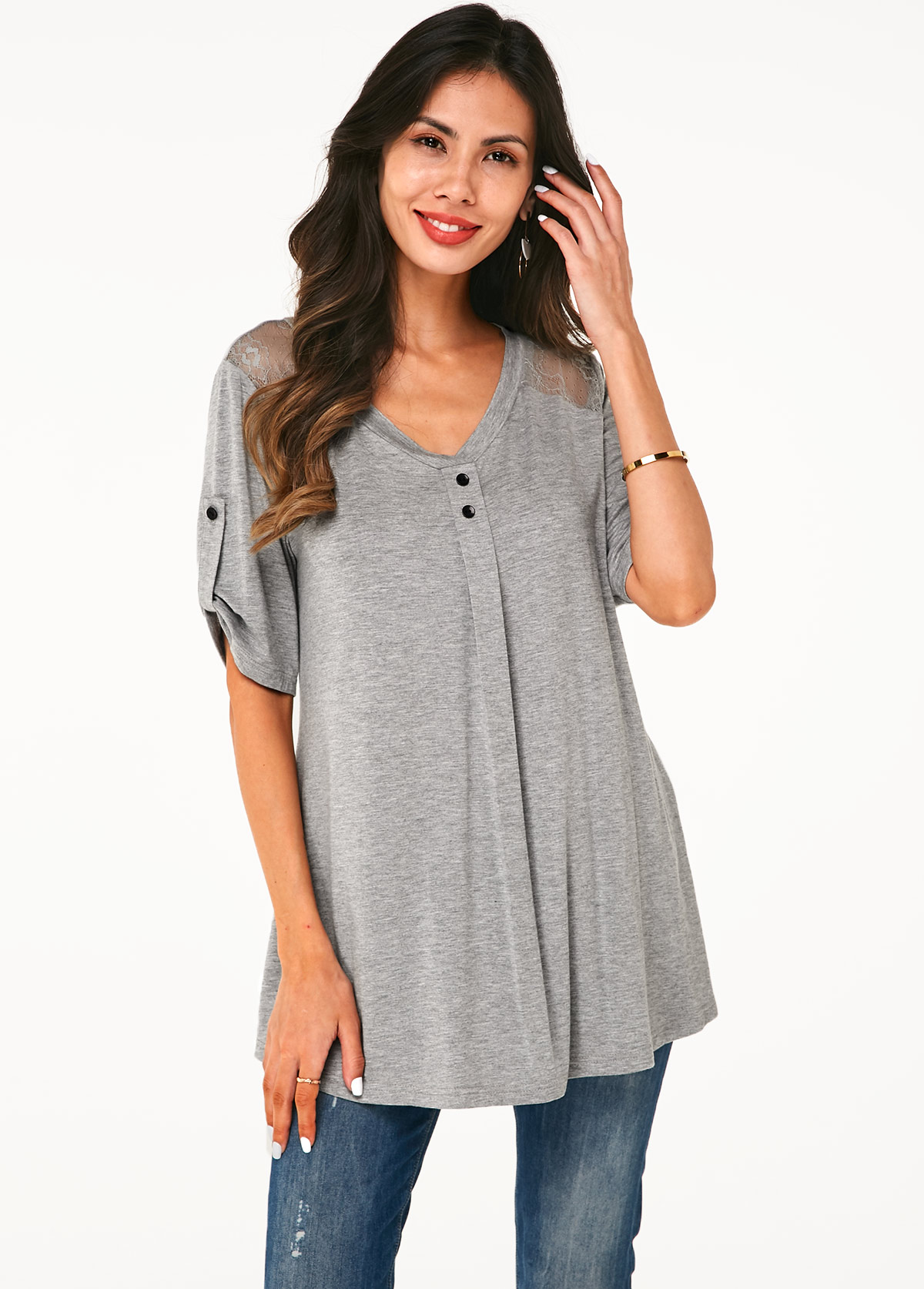 ROTITA Lace Panel V Neck Roll Tab Sleeve Soft T Shirt