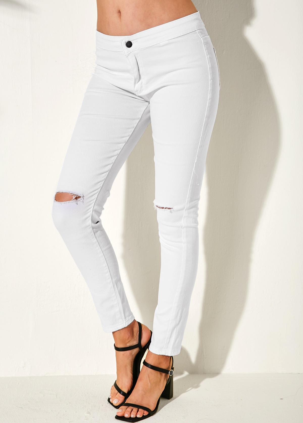 ROTITA Shredded Back Pocket White Skinny Jeans