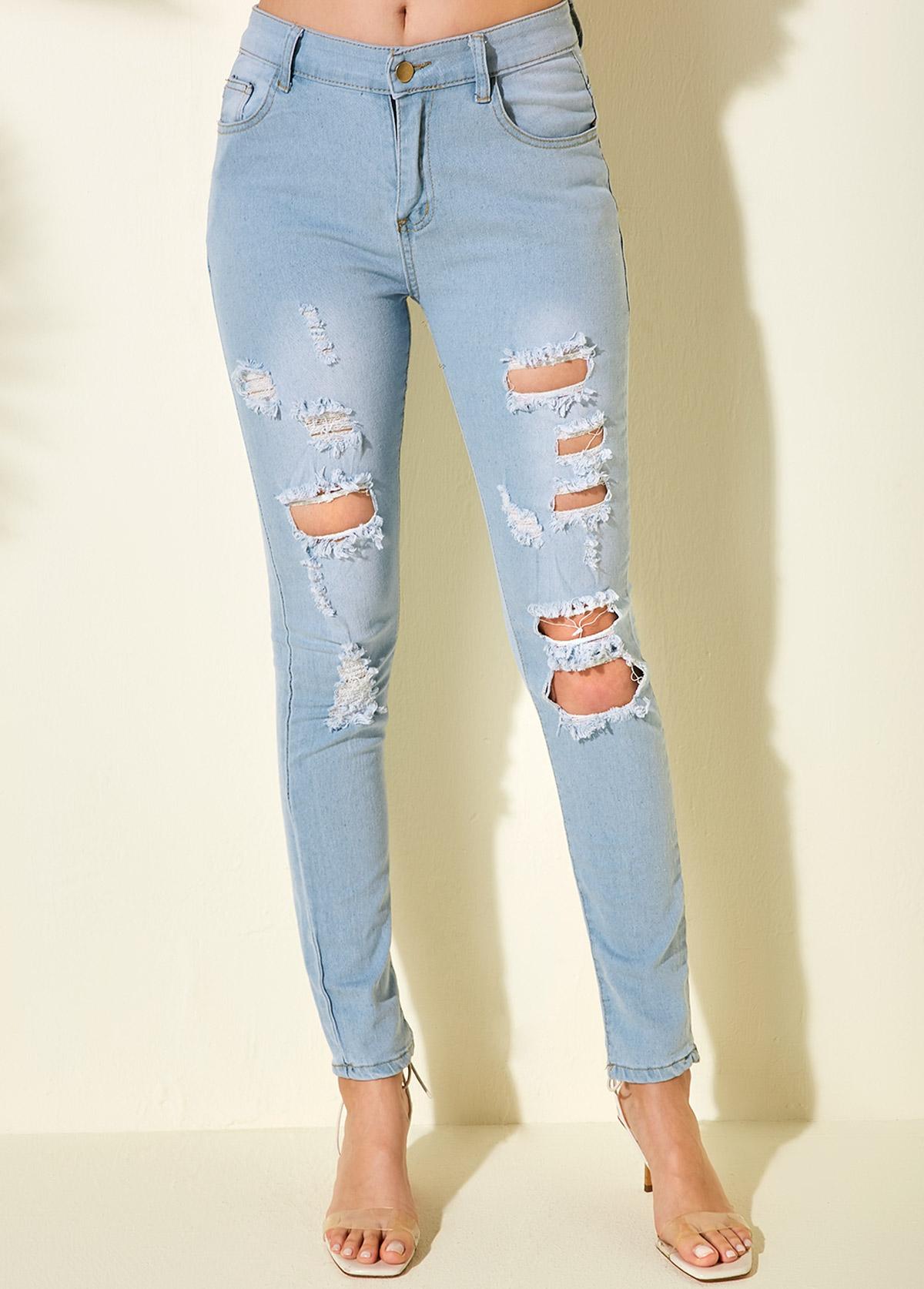 ROTITA Acid Washed Shredded Pocket Detail Jeans