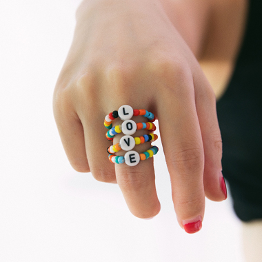 Multi Color Letter Design Ring Set
