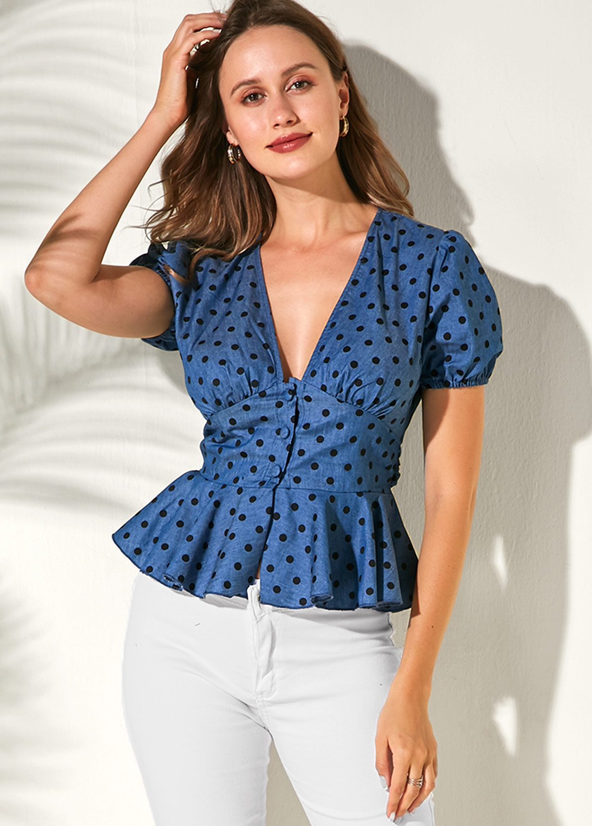 Short Sleeve Ruffle Hem Polka Dot Print Blouse