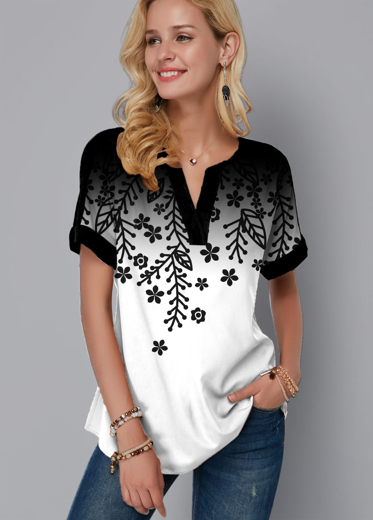Short Sleeve Multi Color Printed T Shirt