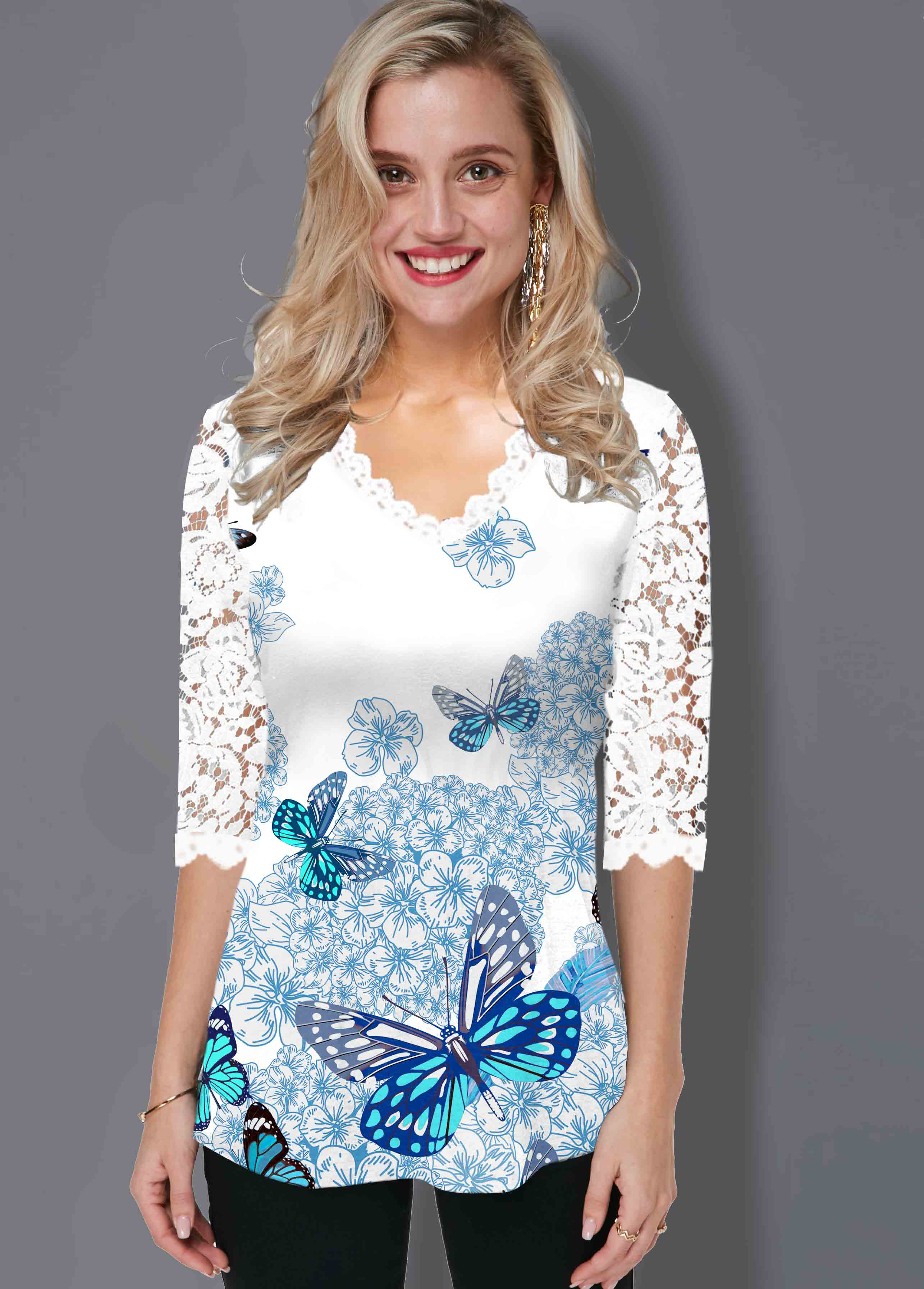 ROTITA Butterfly Print Lace Panel T Shirt