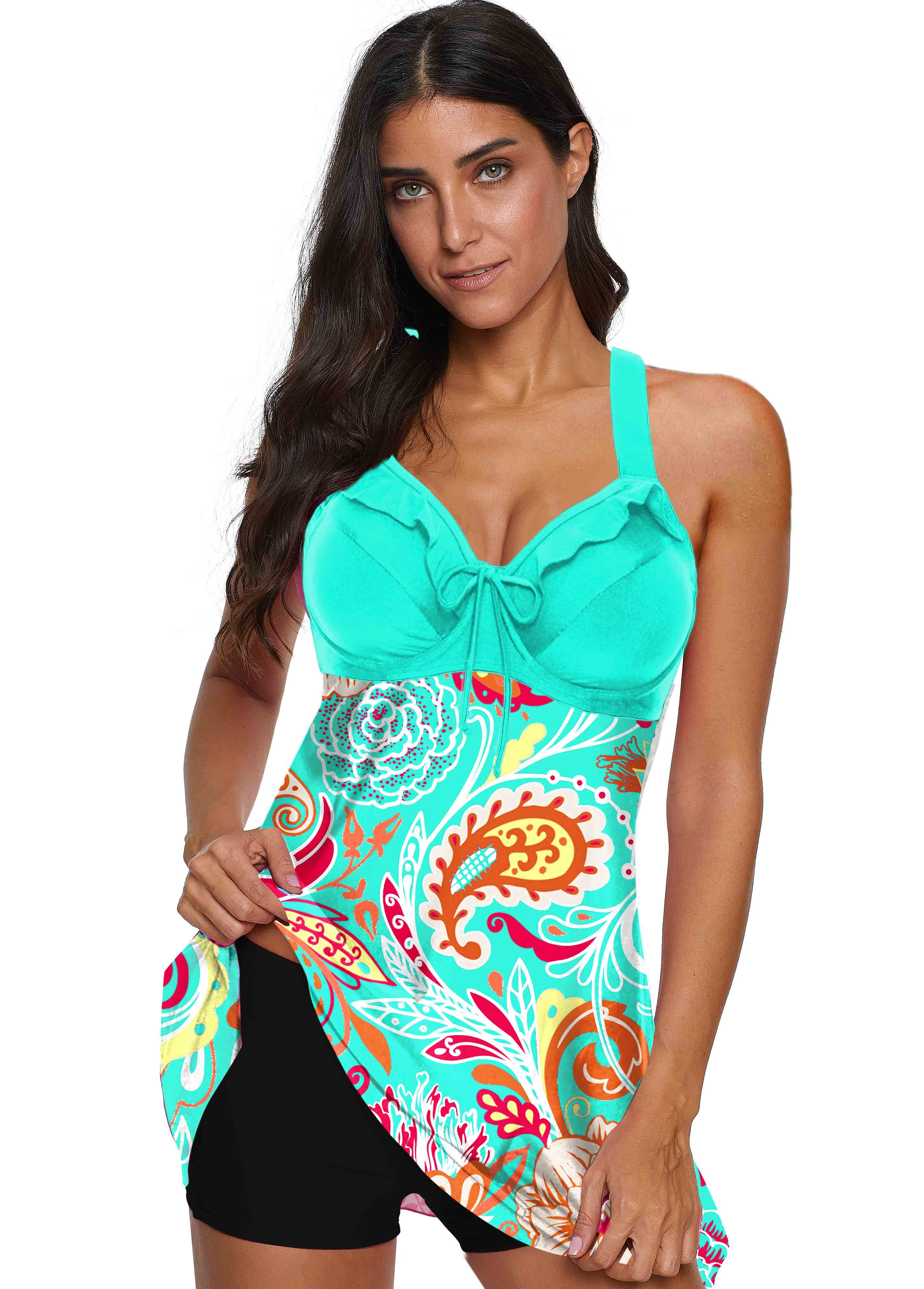 ROTITA Blue Printed Wide Strap Tie Front Swimwear Top