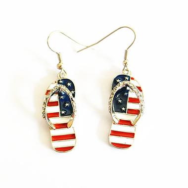 Rhinestone Metal American Flag Print Earrings