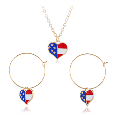 Metal Ring Detail American Flag Print Earrings and Necklace