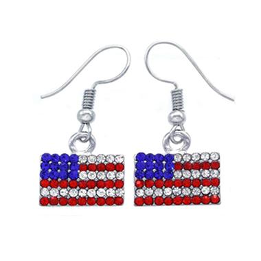 American Flag Print Rhinestone Metal Silver Earrings