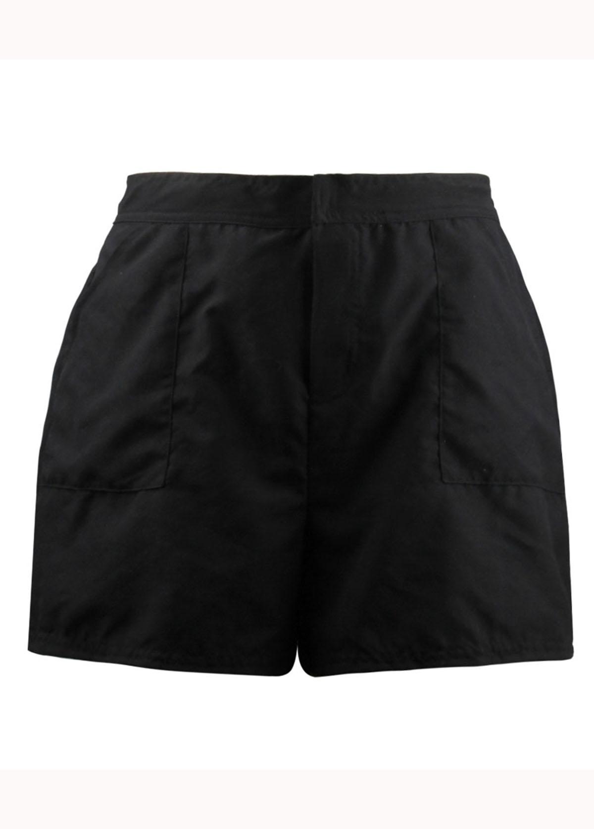 Elastic Waist Black Beach Shorts for Women