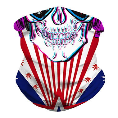 Star American Flag Print Skull Pattern Neck Tube Bandana