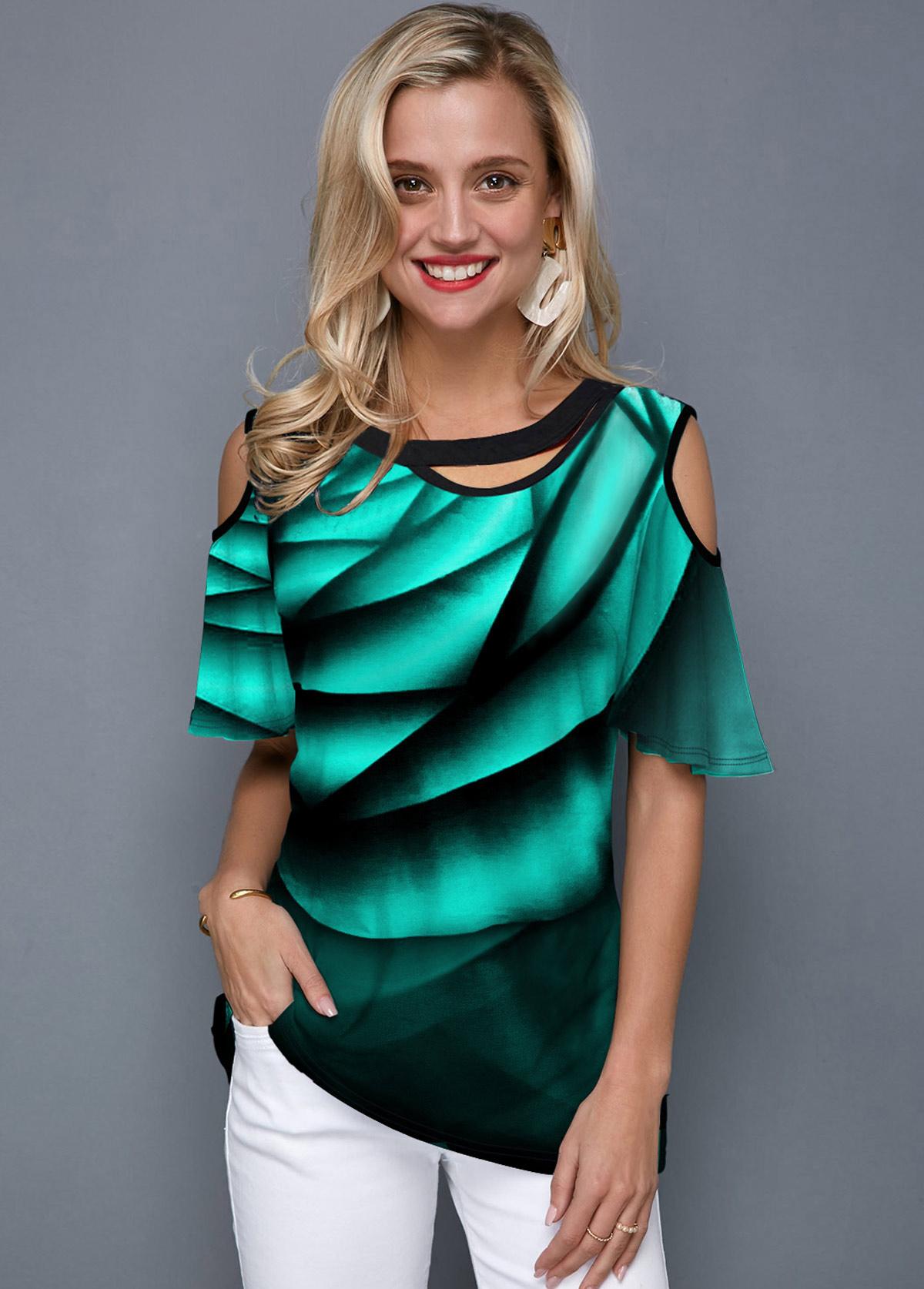 ROTITA Printed Cold Shoulder Half Sleeve Green T Shirt