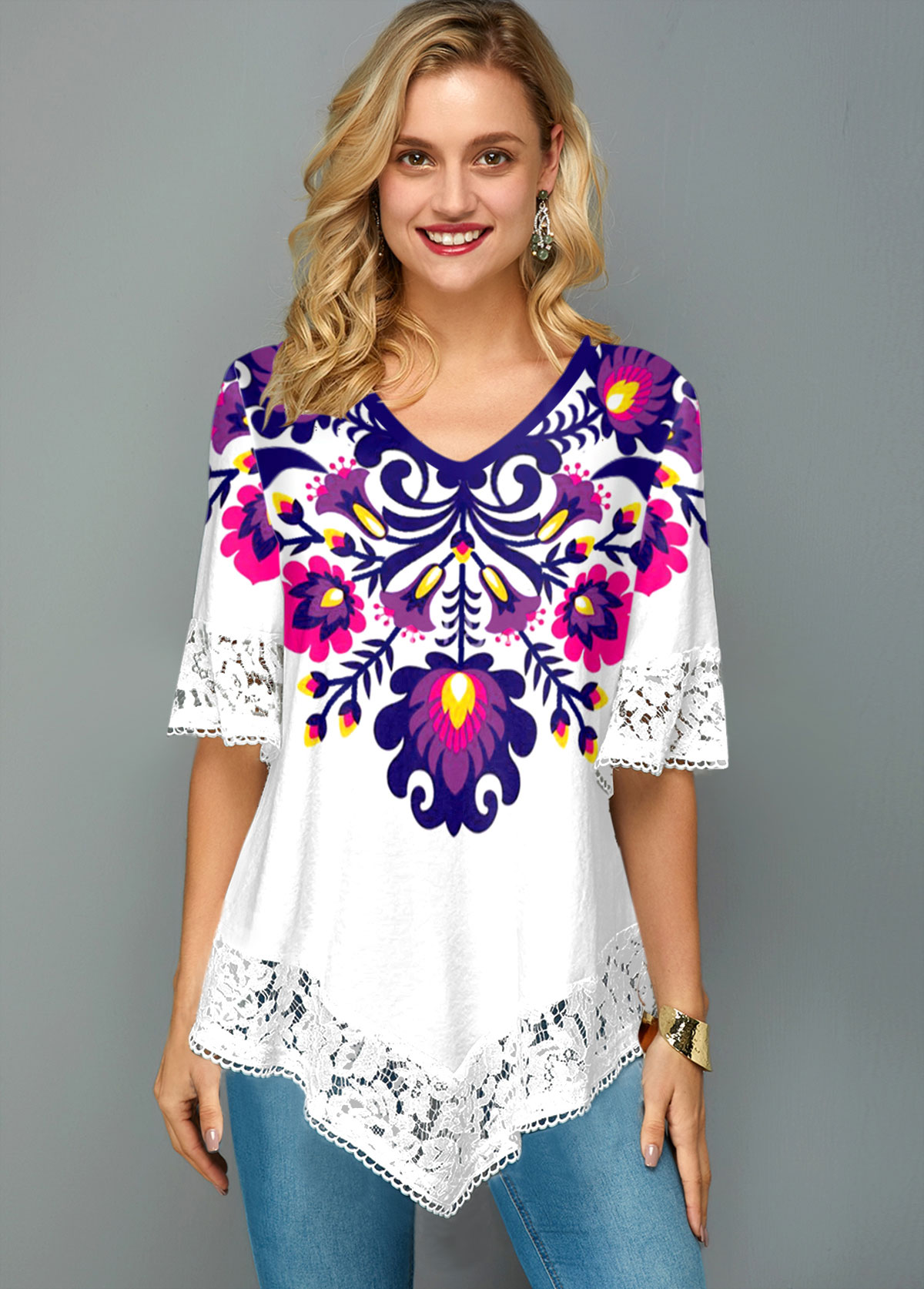 ROTITA Flower Print Lace Stitching V Neck T Shirt