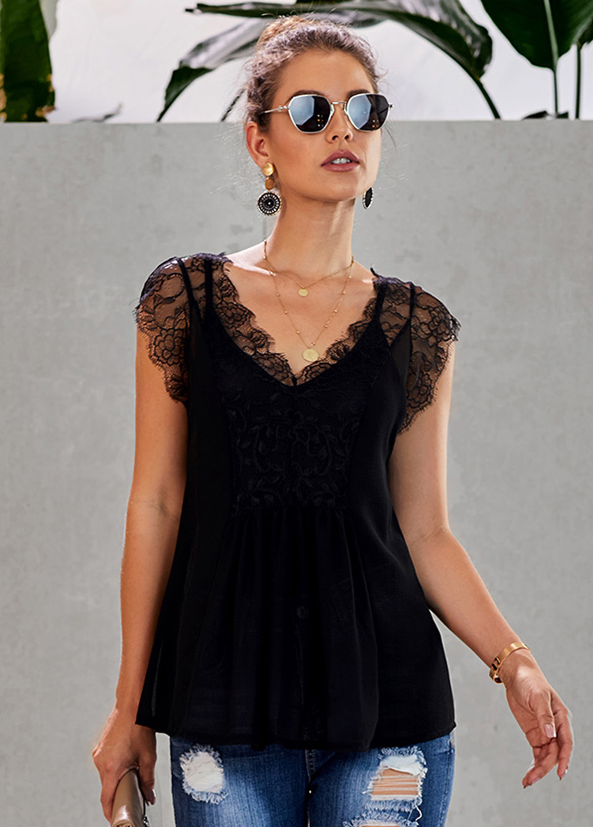 V Neck Cap Sleeve Black Lace Panel Tank Top