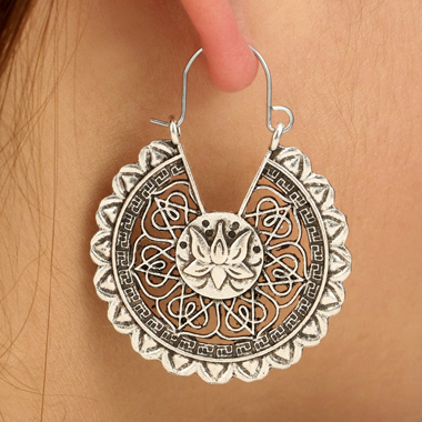 Silver Lotus Design Metal Earring Set