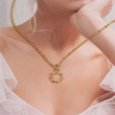 Rhinestone Embellished Metal Chain Necklace for Lady