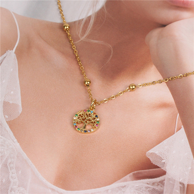 Metal Chain Rhinestone Embellished Necklace for Women