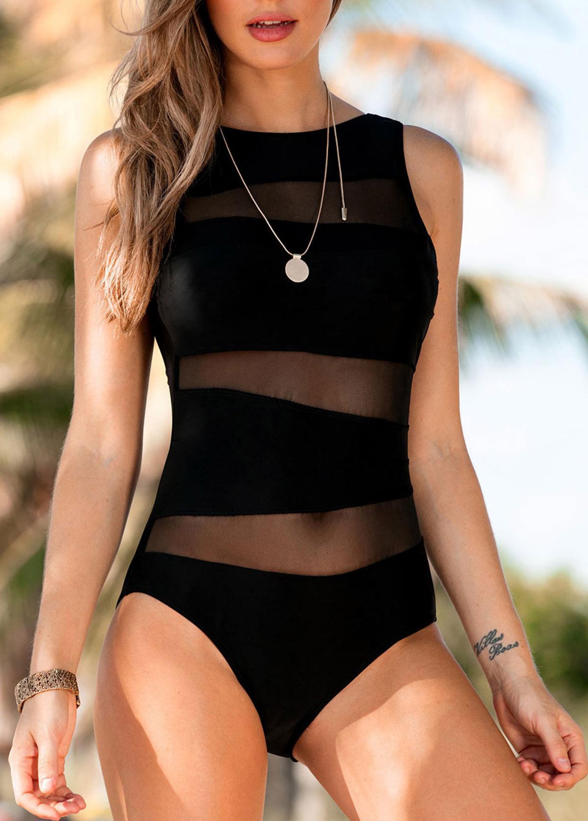 ROTITA Scoop Back Mesh Panel Black One Piece Swimwear