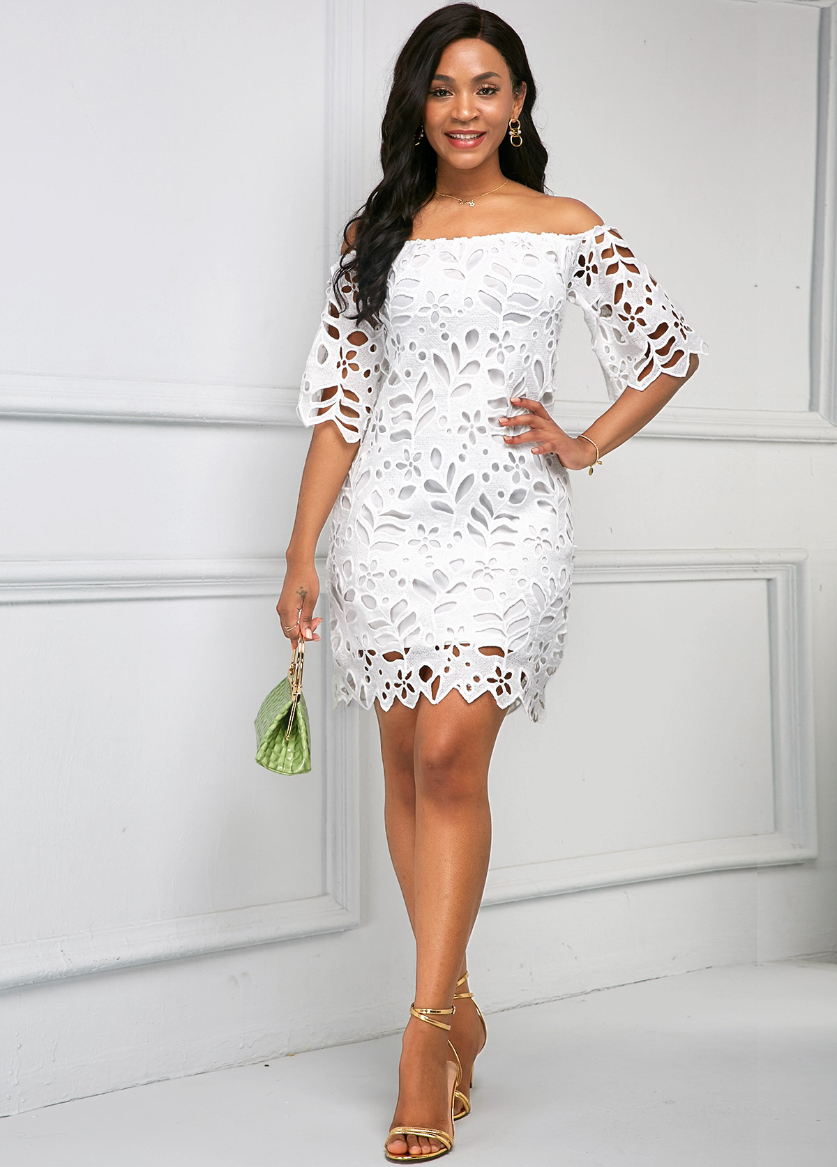Off Shoulder Half Sleeve Pierced Dress