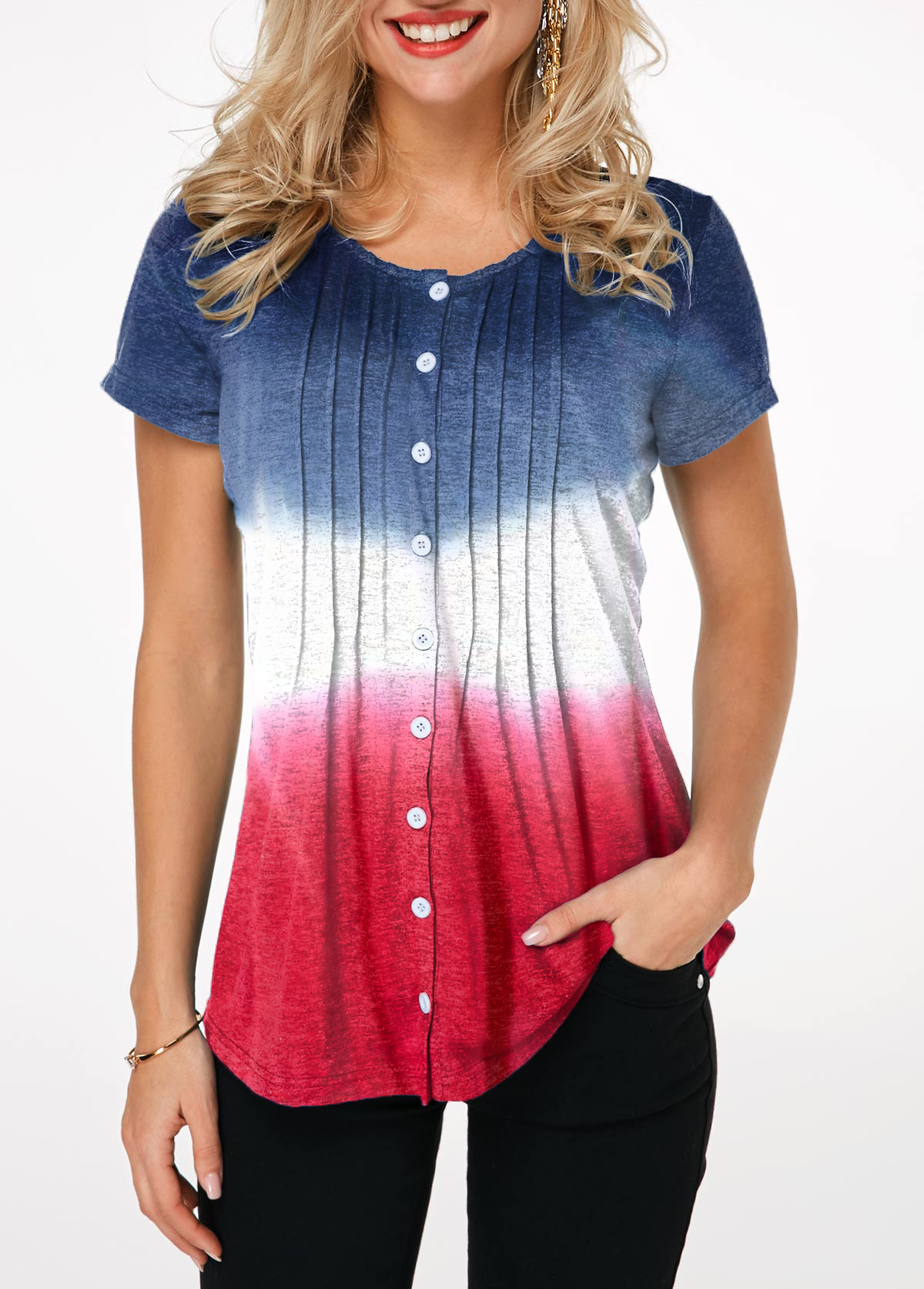 Button Front Tie Dye Print Crinkle Chest T Shirt