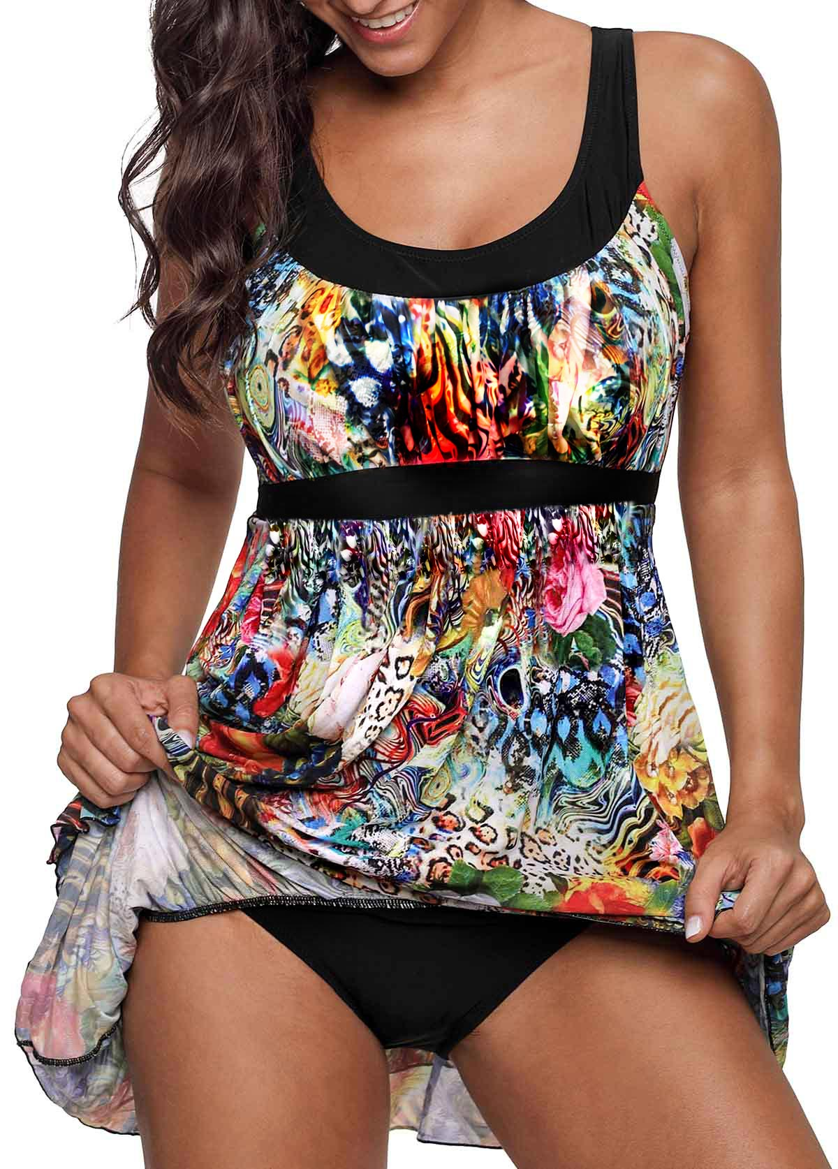 ROTITA Layered Hem Printed Scoop Back Swimdress and Panty
