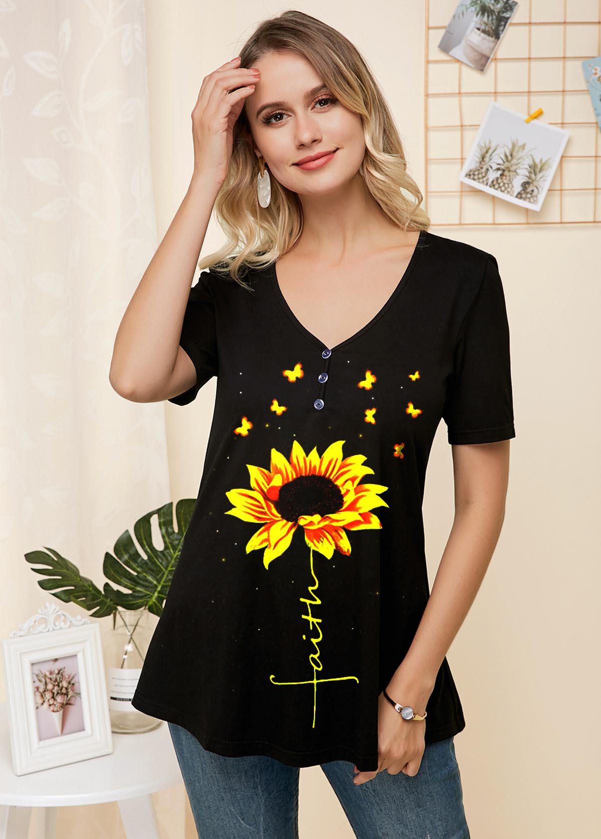 ROTITA Sunflower Print Short Sleeve V Neck T Shirt