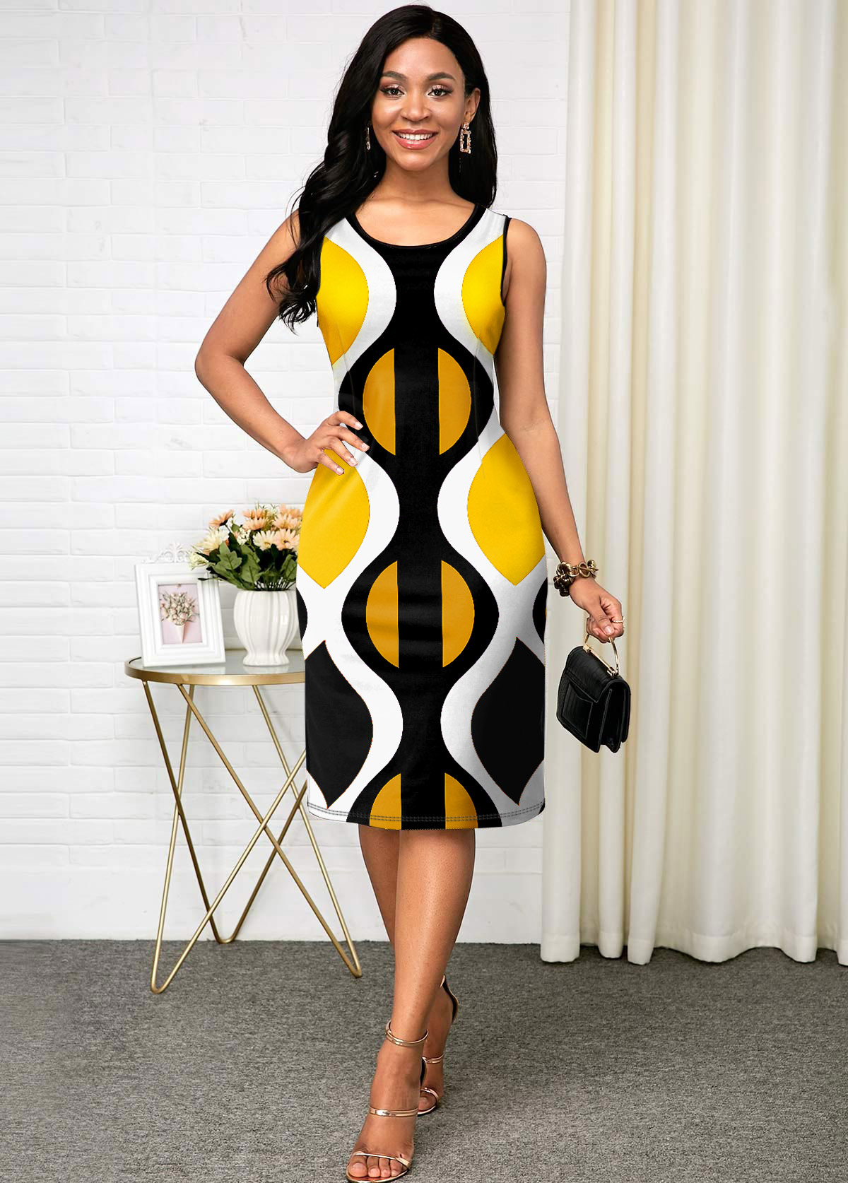 ROTITA Geometric Print Sleeveless Round Neck Bodycon Dress