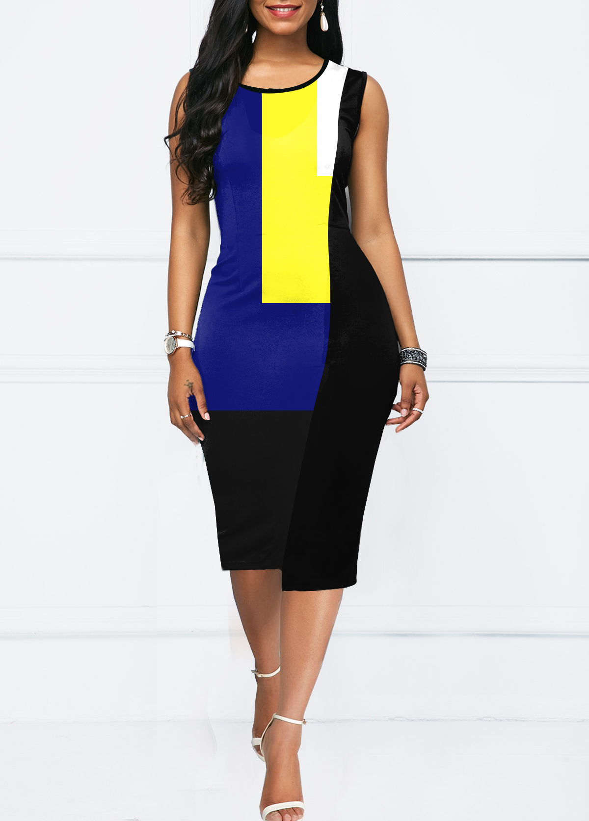 ROTITA Contrast Panel Round Neck Sleeveless Color Block Bodycon Dress