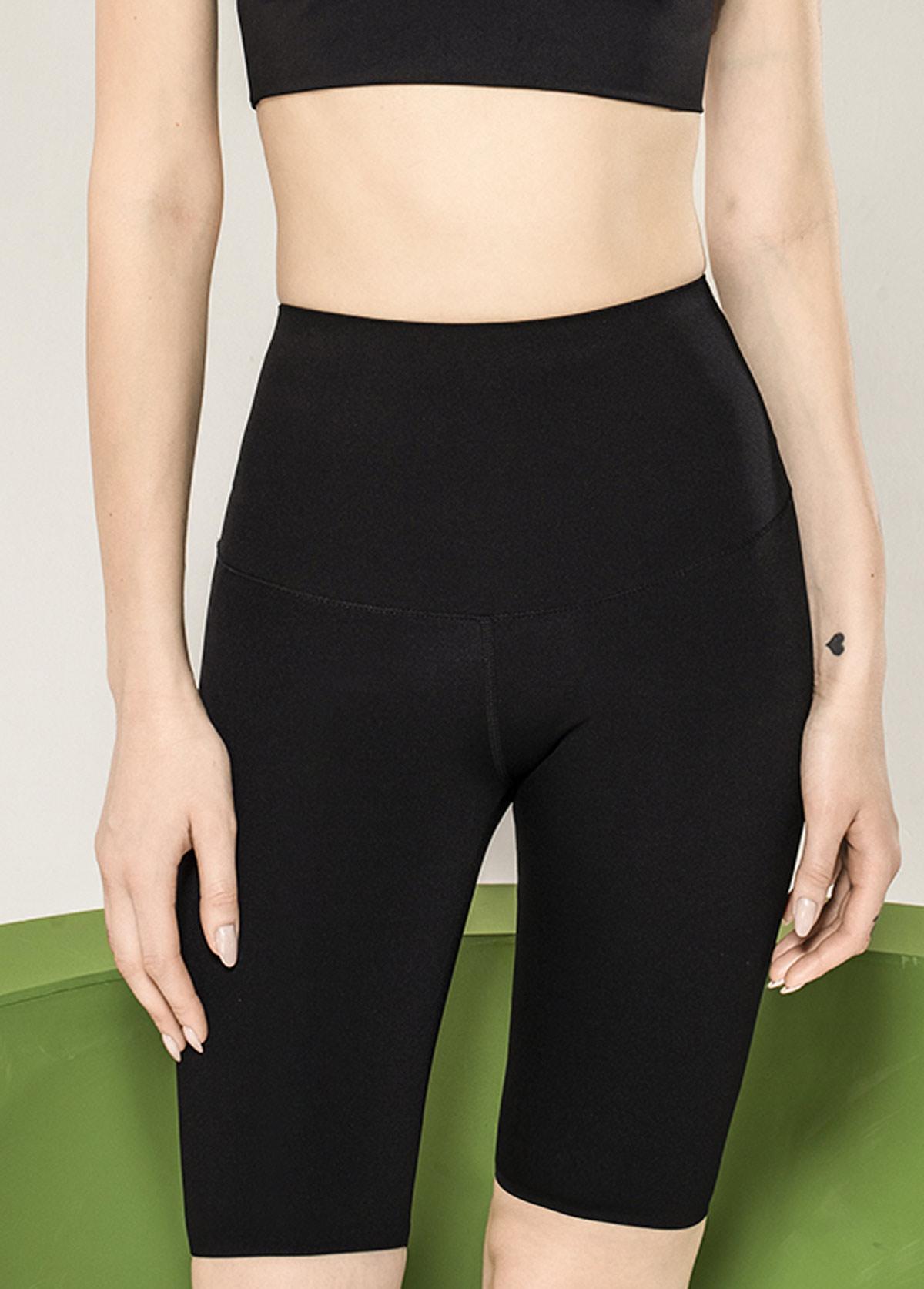 Skinny High Waist Black Knee Length Pants