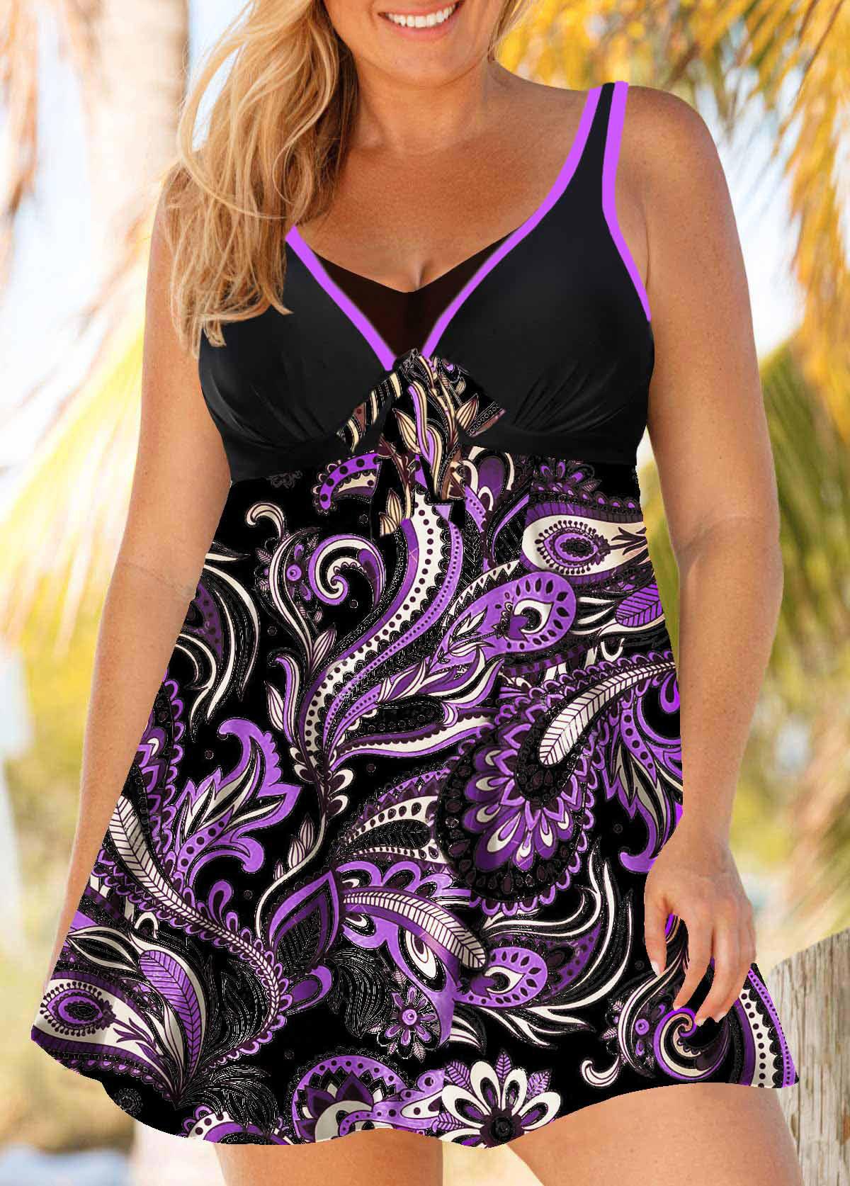 ROTITA Plus Size Paisley Print Purple Swimdress and Panty