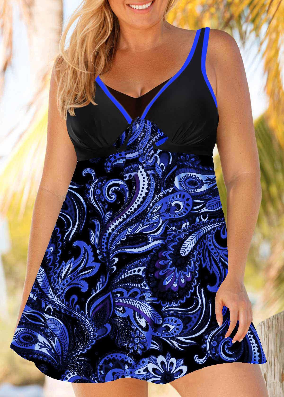ROTITA Plus Size Paisley Print Swimdress and Panty